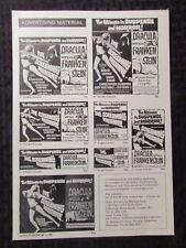1971 Die Screaming Marianne & Dracula vs Frankenstein 1pg 8.5x11 VG/FN 5.0