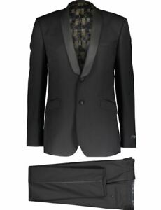 Ted Baker Endurance Night Owl formal suit size 48R 100% Wool shawl sateen collar