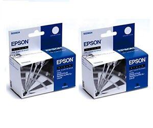2 X Original Epson S020034 Black Stylus Pro XL+ Color - Original Packaging