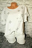 Italy New Long puder Oversized T-Shirt weiß Louis 36 38 40 42 blogger Leinen