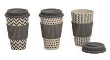 3 Kaffee to go Becher mit Deckel schwarz - weiss aus Bambus Biologisch abbaubar