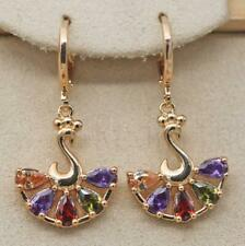 18K Gold Filled -  Peacock Waterdrop Hollow Topaz Amethyst Morganite Earrings