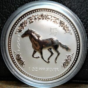 2002 Silver 1 oz Dollar from Australia, Year of the Horse, Lunar Series I