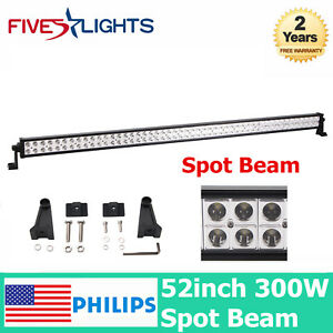"""Philips 300W 52"""" LED Light Bar Spot Offroad Truck Boat Front 4WD SUV Driving Car"""