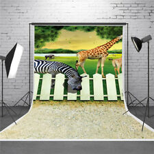 3D Effect Zebra Giraffe Photography Backdrop Background Studio Photo Props 5x7ft