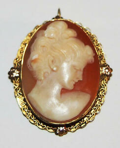 Vintage hand carved Cameo  Pin or Pendant 12kt Gold F. Exquisite lady