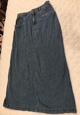 Chadwick's Denim Blue Jean Long A-line Skirt in Medium Wash Sz 12T