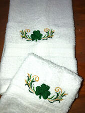 Embroidered Bathroom Hand Towel / Wash Cloth Shamrock Border with Swirls H1449