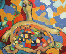 Expressionist oil painting turtle