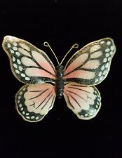 Weiss Vintage Enameled Butterfly  Life size Monarch but a little more pinky