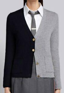 Thom Browne Half Half Rib Knit V-Neck Wool Cardigan Size 3 Slim Fit
