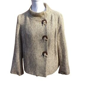 Per Una M&S Herringbone Jacket Size UK 14 Brown