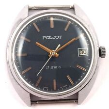 Vintage Soviet POLJOT watch Classic black Dial with Date USSR *US SELLER* #1226