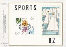 Belgique 1982 BL 58 feuillet FDC soie Billard Cyclisme Vélo Football Voilie