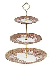 3 TIER VINTAGE FLORAL CERAMIC CAKE STAND CUPCAKE WEDDING PLATE TEA A2