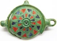 Nice Ancient Roman Bronze & Enameled Umbonate Brooch c. 2nd century A.D.