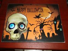 """Tii Collections HAPPY HALLOWEEN """"Flashing Skull Eyes"""" Scary Wall Hanging Mural"""