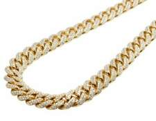 Men's 10K Yellow Gold Miami Cuban Link Genuine Diamond Necklace Chain 23ct 11MM