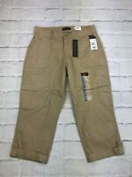 Lee Womens Relaxed Fit Mid Rise Flat Front Brown Capri Pants Size 10