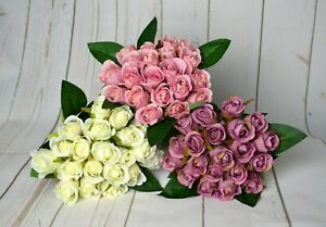 Artificial Bud Rose Bouquet with raffia x 20 stems bridal displays home
