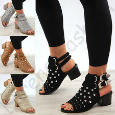 New Womens Mid Block Heel Sandals Buckle Studs Peep Toe Ankle Strap Shoes Sizes