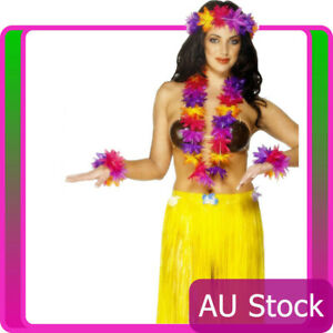smiffys Hawaiian Garland Tropical Hula Luau Beach Costume Accessories 4pcs