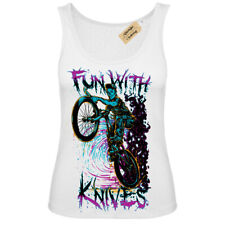 Fun with knives T-Shirt biker zombie demon Vest White Womens