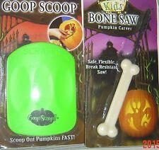 2 Piece Halloween KIDS BONE Saw & Pumpkin GOOP SCOOP 8+ Green Carve