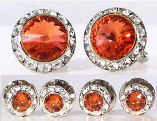 Padparadcha Tuxedo Round Cufflinks & Studs Set Made With Swarovski Crystals