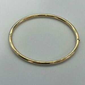 9ct Gold Hallmarked Oval Hinged Ladies Bangle.  Goldmine Jewellers.