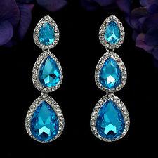Rhodium Plated Blue Crystal Rhinestone Drop Chandelier Dangle Earrings 06631