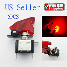 5x Red 12V 20A Car Auto Cover LED Light SPST Toggle Rocker Switch Control On/Off