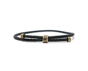 Kenton Michael Black Leather Bracelet Brass Coil Antique Vintage Urban Men's $68
