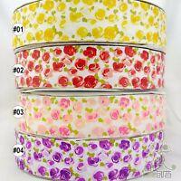 "2 Yards Yellow/Red/Pink/Purple Rose Flower Grosgrain Ribbon Craft 1.5""(38mm) DIY"