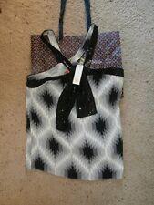 NWT NEW TORY BURCH Gray & Black Print Geometric Sequin Trim Silk Top Sz 12 $295