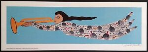 "Signed HOWARD FINSTER Folk Art ANGEL Print - Unframed MINT 27.25""x9.25"" - Blue"
