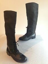 eff26a7748e Cynthia Vincent Boots Black Leather w Patent Cap Toe Size 7M NWOB