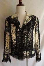 Alberto Makali 14 Artsy Black White Lace Tulle Mesh Blazer Funky Jacket Coat