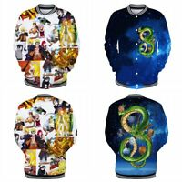 Anime Dragon Ball Naruto0 3D Cosplay Baseball Coat Bomber Jacket Unisex Hoodie