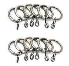 12 x Brushed Silver Finish Metal Curtain Rings For 19mm Diameter Poles