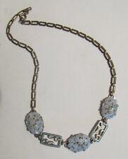VINTAGE ART DECO RHODIUM ANTIQUE ENAMEL BLUE ART GLASS FLOWERS NECKLACE GERMANY
