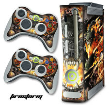 Skin Decal Wrap for Xbox 360 Original Gaming Console & Controller Xbox360 FIRE B