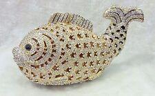 Fish~Gold Clear Handmade Austrian Crystal 3D Shaped Purse Cocktail Evening Bag