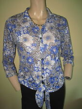 Per Una ~ Blue & White Floral Brushed Feel Tie Front 3/4 Sleeved Shirt ~ Size 10