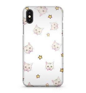 Adorable Happy Kitten Animal Cat Face Pink Ribbon Stars Pattern Phone Case Cover