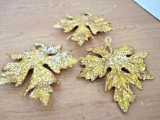 "Lot of 3 GLITTERY GOLD LEAVES Christmas Holiday ORNAMENTS~5"" x 4"""
