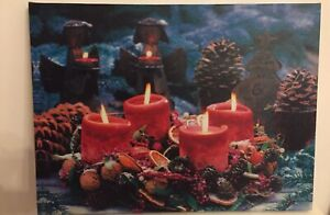 Kitsch Electric Light Up Christmas Scene Canvas. Battery Operated. Immaculate.