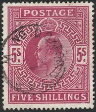 1911 SOMERSET HOUSE SG318 5/- CARMINE FINE/VERY FINE USED OXFORD STREET CDS