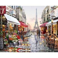 Paint By Number Kit Paris Eiffel Tower Old Town Cafe DIY Picture 40x50cm Canvas