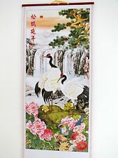 CHINESE BAMBOO FENG SHUI WALL HANGING SCROLL PICTURE CRANE PINE PEONY PARTY 9-6